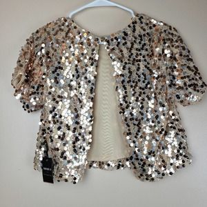 NWT Forever 21 XS gold sequin shrug crop jacket